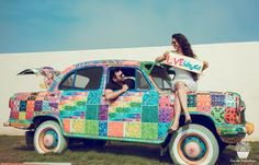Prewedding shoot with old school ambassador car. #lovestruck. Photography courtesy of Cheesecake Photography. Find more Indian Wedding inspirations at www.jivaana.com