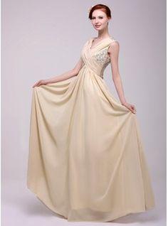 A-Line/Princess V-neck Floor-Length Ruffle Beading Zipper Up Regular Straps Sleeveless Champagne Fall General Plus Chiffon Holiday Dress