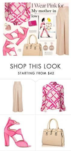 """""""I Wear Pink for..."""" by katarina-blagojevic ❤ liked on Polyvore featuring Barbara Casasola, Derek Lam, Monique Lhuillier and IWearPinkFor"""