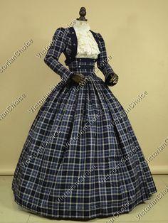 Civil War Victorian 3-PC Cotton Blends Tartan Ball Gown Dress Reenactment Theater Costume NAVY