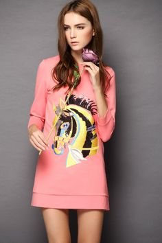Pink Long Sleeve Horse Sequined Dress $52.5