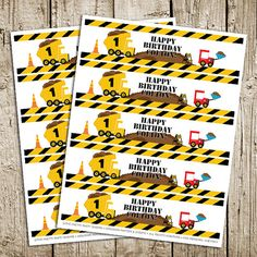 Construction Birthday Party Digital Printable Water Bottle Labels | The Pretty Party Shoppe
