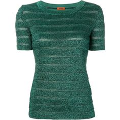 Missoni glitter striped T-shirt ($980) ❤ liked on Polyvore featuring tops, t-shirts, green, green top, missoni, green tee, green t shirt and missoni t shirt