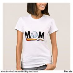 Shop Mom Baseball Bat and Ball T-Shirt created by TeeZazzle. Espn Baseball, Baseball Helmet, Chicago Cubs Baseball, Baseball Socks, Tigers Baseball, American Apparel, Fitness Models, T Shirts For Women, Mom