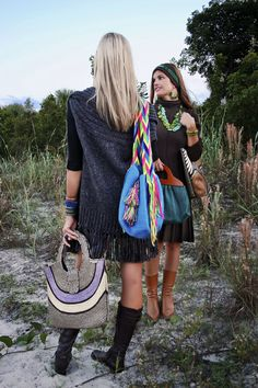 Left to right: Naturals with Pink and Blue Juliana Large, Turquoise Wayuu Mochila, Green Sandra Classic, Earth Tones Juliana Bucket Flower and assorted CordoBags Jewelry.  www.CordoBags.com