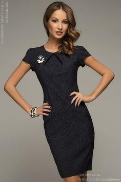 Платье темно-синее с узором и коротким рукавом , синий в интернет магазине Платья для самых красивых 1001dress.Ru