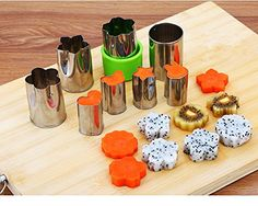 Fruit shape cutters Stainless Steel Fruit Cutter Vegetable Cutters Shapes Set,Bread Sandwich Mold Set Cheese presses stamps Mini 8 pcs Mini Cookie Cutters, Fruit Shape Cutters for Kids