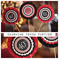40th Birthday Party Centerpiece.  Party decoration/ decor.  Set of 3, black and red.  Fully assembled and customizable. by CharmingTouchParties on Etsy