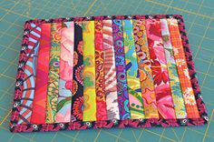 Scrappy strip pieced Mug Rug / Coaster by FromHere2Quilternity