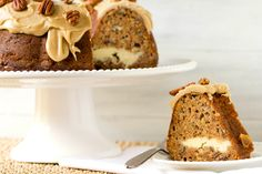 Apple Bundt Cake with Cream Cheese Filling & Praline Frosting | Brown Eyed Baker