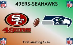National Football League San Francisco Fourty-Niners v. Football Rivalries, Nfl 49ers, Sports Logos, National Football League, San Francisco 49ers, Seattle Seahawks, Logo Design, National Soccer League