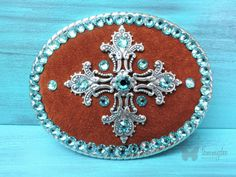 Turquoise Belt Buckle Latigo Suede Buckle by tammydeedesigns
