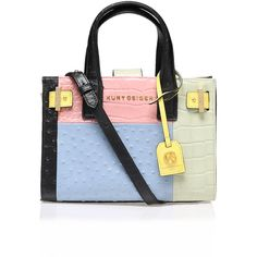 Ostrich Horiz Ldn Tote Kurt Geiger London Multi-Coloured found on Polyvore featuring bags, handbags, tote bags, handbags totes, multi color purse, blue tote, tote bag purse and ostrich tote