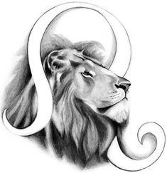 Grey Ink Zodiac Leo Tattoo Design