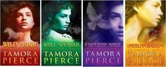 Tamora Pierce. Mainly The Immortals series, The Protector of the Small series and the Trickster series.