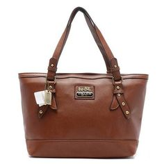 Discount Coach City Saffiano Large Brown Totes AOB Clearance