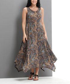 Loving this Brown Paisley Scoop Neck Handkerchief Dress - Plus on #zulily! #zulilyfinds