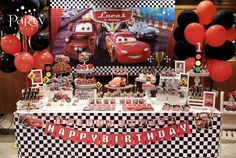 Incredible dessert table at a Disney's Cars birthday party! See more party planning ideas at CatchMyParty.com!