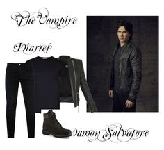 """""""The Vampire diaries- Damon"""" by aliciaj14 ❤ liked on Polyvore featuring Balmain, L(!)W Brand, Timberland, Replay, men's fashion and menswear"""