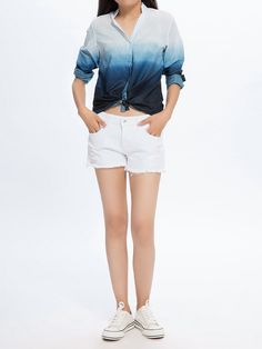 Casual Women Button V Neck Tie-Dye Gradient Color Blouse