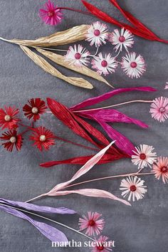 A single stem can feature multiple blooms, as shown here with these asters. The centers are cotton covered with glitter, the petals are created with fringing scissors, and the leaves are made from twisted ribbon paper. #marthastewart #crafts #diyideas #easycrafts #tutorials #hobby How To Make Paper Flowers, Simple Way, Easy Crafts, Bloom, Clip Art, Homemade, Crafty, Projects, Scissors