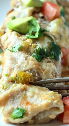 Chicken Enchiladas with Creamy Green Chili Sauce