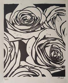 Bouquet of Roses Linoleum Block Print 810 Art Print Linocut Letterpress Garden Art Decor Flowers Floral Botanical Artwork Linoleum Block Printing, Linoleum Print, Botanical Drawings, Linocut Prints, Woodcut Art, Pattern Drawing, Garden Art, Fine Art Prints, Street Art
