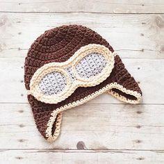 Crochet Aviator Pilot Hat Beanie Newborn Baby Infant Toddler Child Adult Handmade Photography Photo Prop Baby Shower Gift - Red Lollipop Boutique