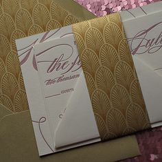 best selling wedding invitations, art deco invitations, great gatsby wedding invitations, letterpress wedding invitations, pink and gold