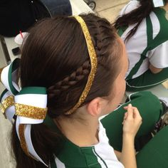 Game day hair: braid w/ bow and headband.