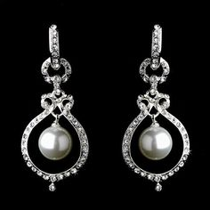 "Bridal Wedding Jewelry Austrian Crystal Pearl Dangle Drop Earrings Silver White Accessoriesforever. $16.85. Nickel / Lead Compliant. Dimensions (Size): Approx. 1.85"" Drop x 0.75"" W. Color: Silver, Clear, White. Style: Open Drop, Dangle. Material: Clear Austrian Crystals, White Faux Pearls, Rhodium / Silver Plated"