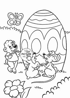 Animals and Easter Egg coloring page for kids, coloring pages printables free - Wuppsy.com