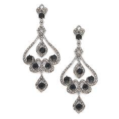 Vintage Black Diamond Chandelier Scroll Earrings