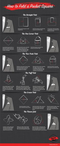 Our friends over at The Epoch Man posted a great infographic recently showing variations on how to fold a pocket square. Here at The Guide to Style we tend to either wear the straight or the puff f… Pocket Square Folds, Pocket Square Guide, Mens Pocket Squares, Pocket Square Styles, Pliage Pochette Costume, Suit Fashion, Mens Fashion, Fashion Menswear, Style Fashion