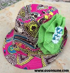 Pink Paisley Fedora with Lime Green Burlap Flower $36.95 www.gugonline.com