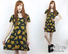 Vintage 90s Grunge Mini Sunflower Dress S M L 90s by shopEBV