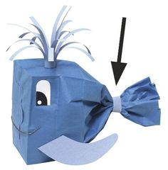 Blue whale made from a Pacon paper bag. Preschool Projects, Preschool Crafts, Crafts For Kids, Craft Projects, Arts And Crafts, Preschool Songs, Preschool Christmas, Preschool Ideas, Christmas Crafts