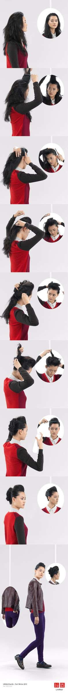 """THE LILY QUIF"" : A leather jacket and ultra stretch jeans are pefrect with this cool hair style.   Click the image for DIY instructions! #UpDo #DIY #Hair #Hairstyle #Uniqlo #FW2013 #UltraStretch #USJ #HairDo"