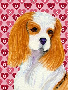 Cavalier Spaniel Hearts Love and Valentine's Day Portrait 2-Sided Garden Flag