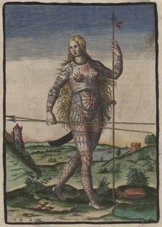 jordanelse:    Hand-colored version of Theodor de Bry's engraving, The True Picture of a Woman Picte [the Picts were an ancient Celtic people from Scotland], originally published as an illustration in Thomas Hariot's 1588 book A Brief and True Report of the New Found Land of Virginia.