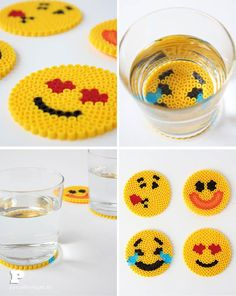 DIY Diy Perler Bead Emoji Coasters - We can all agree that emojis are the lastest hit on the interne Perler Bead Emoji, Diy Perler Beads, Perler Bead Art, Pearler Beads, Fuse Beads, Hama Beads Coasters, Pixel Beads, Hama Beads Design, Hama Beads Patterns