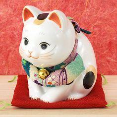 薬師窯 招き猫 彩絵 ふく福おじぎ猫(大)