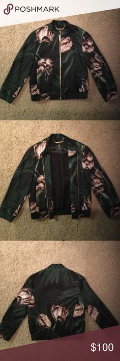 Ted Baker Bomber Jacket Floral palm bomber jacket in excellent condition. Gently used. Ted Baker is a London brand, so the size is represented by a number. In this case the jacket is a 1, which equates to a US size Small. Ted Baker Jackets & Coats