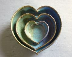 Made to Order  pottery heart bowls nesting by JDWolfePottery, $30.00