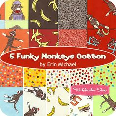 5 Funky Monkeys Cotton Fat Quarter Bundle Erin Michael for Moda Fabrics