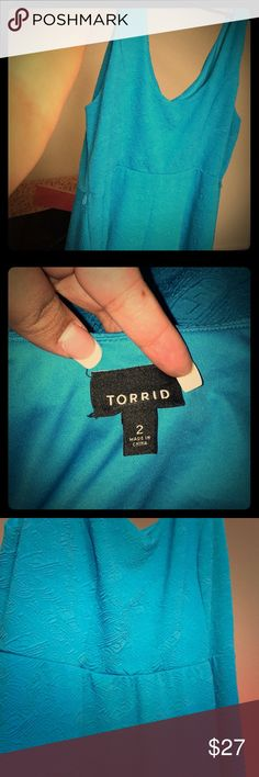 """Torrid dress size 2 turquoise blue dress pinup Like New 🌟 Excellent condition turquoise blue sleeveless dress. I did not wear this but it's gorgeous for any dressy event Rockabilly dress 👗 measures 41"""" inches long from top of shoulder. Vintage style pin up dress. Torrid Dresses"""