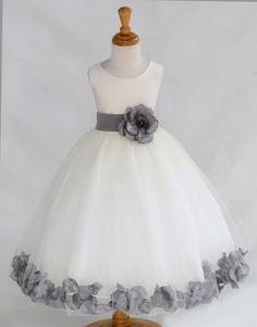 IVORY/ Mercury (picture) Beautiful and Puffy Flower girl dress 20 different sash flower colors bridemaid wedding elegant party 302an