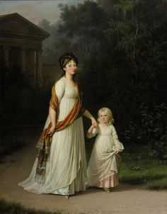Crown Princess Marie and her daughter, Princess Caroline painted around late 1790s, Jens Juel. Copyright: Rosenborg Castle / Rosenborg Slot