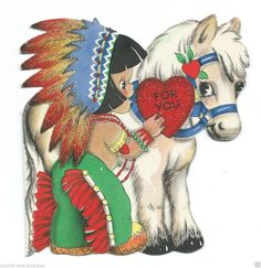 1942 Valentine Indian Boy with Pony Beaded