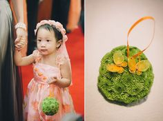 Lime Green Spider Mums decoration ball for the flower girl. Great DIY wedding idea